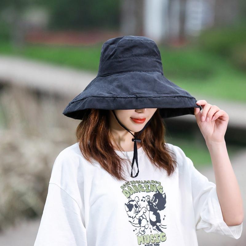 Cappello Pescatore visiera estate femminile grande bordo solido di colore giapponese bacino Cappello Marea Viaggi Cappello in Tessuto Sun Sun Protection pieghevole