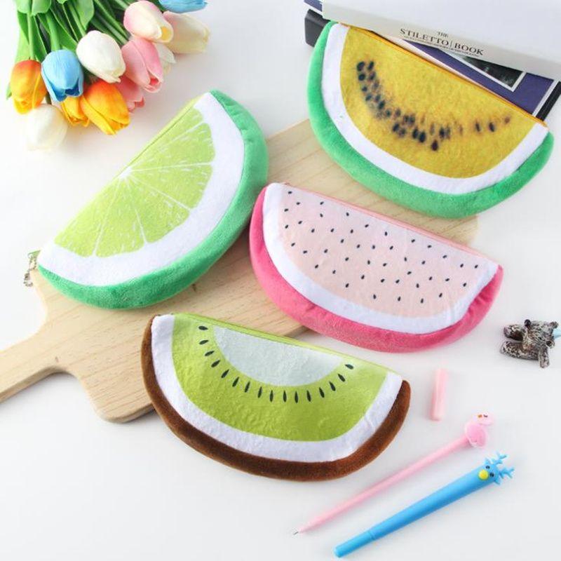 Bonito Frutas Melancia Cactus Plush Lápis Caso Cosméticos Saco de Caixa de Caneta para Meninas Presente Transporte Rápido F2620