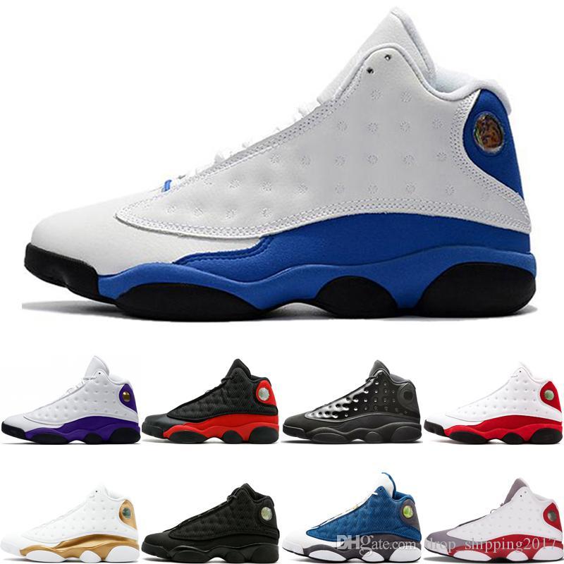 Hiper Kraliyet 13 13 s adam basketbol ayakkabı siyah kedi Lakers Rakipleri kap ve cüppe Gri ayak Chicago Tasarımcı Erkek Spor Sneakers boyut 7-13