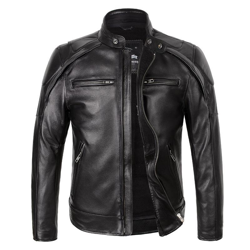 2019 Noir Hommes Veste En Cuir De Moto Américain Plus La Taille XXXL Véritable Épaisse Vachette Printemps Slim Fit Veste En Cuir De Biker