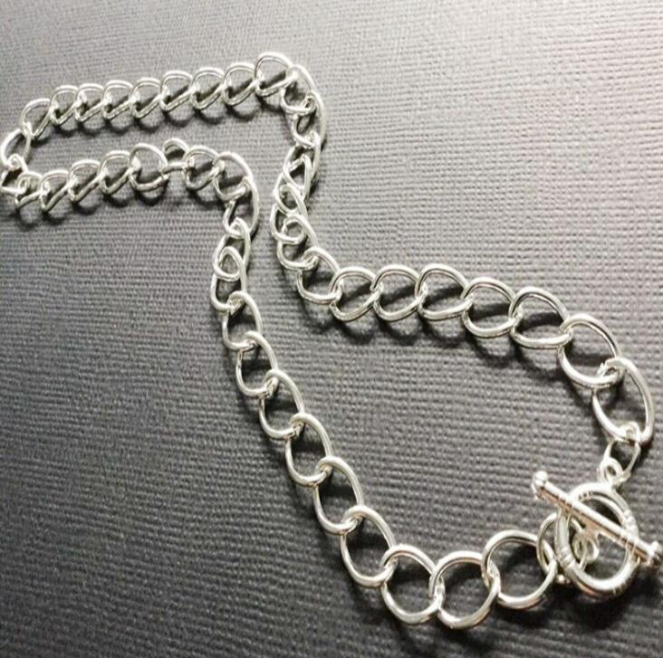 Chunky Chain Necklace Pendant Vintage Silver Charm Collar Cable Choker Fastener Toggle Necklace Statement Jewelry Women Halloween Gift 60PCS