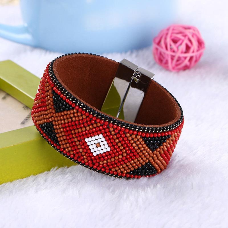 Retrò tallone di stile braccialetto multicolore geometria braccialetti dei braccialetti bracciali Ampia inarcamento magnetico Boemia delle donne