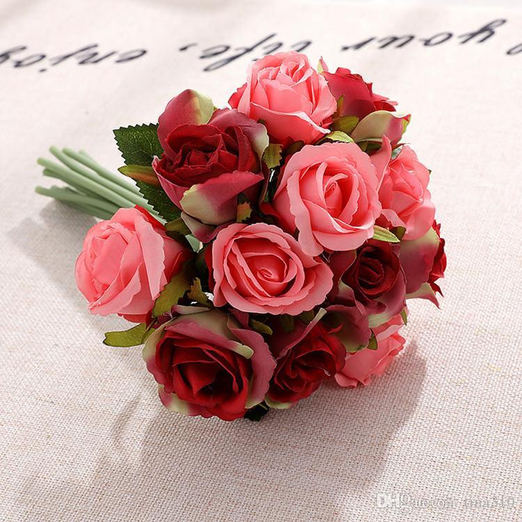 10 stile artificiale rose fiori di nozze centrotavola decorativo vestito da sposa fiori di simulazione 1lot / 12pcs Articoli per feste T2I5489