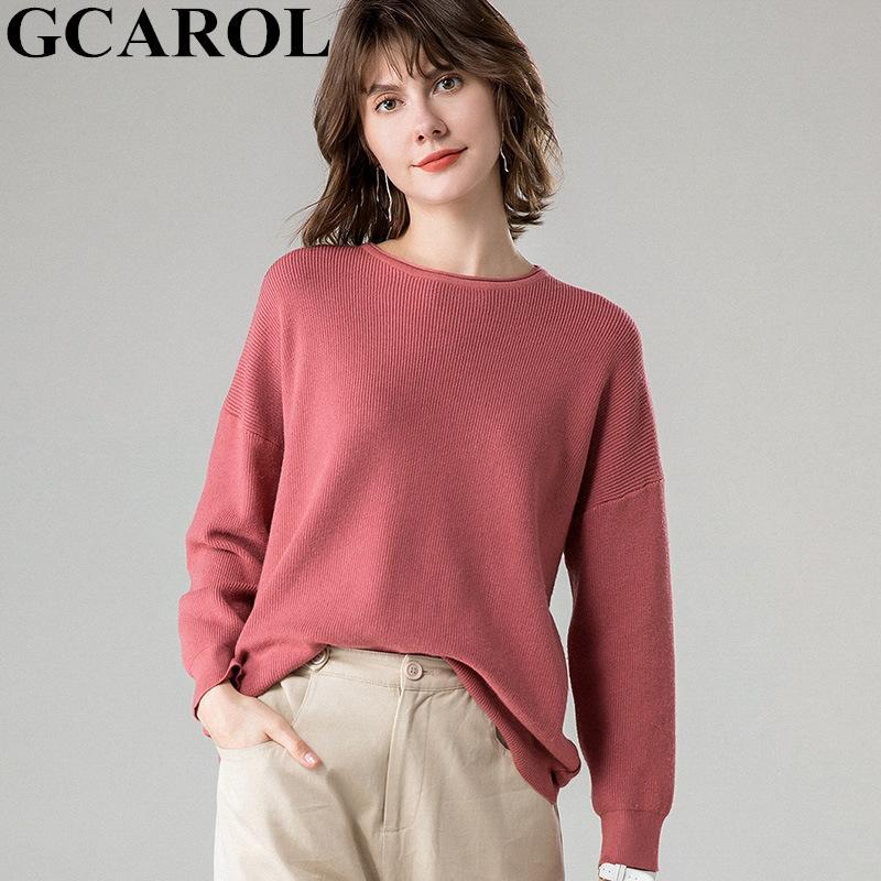 GCAROL Herbst-Winter-Maxi-Frauen-Strickjacke 30% Wolle Threaded-Stulpe-Tropfen Schulter Jumper beiläufige faule Thick gestrickte Pullover 2XL
