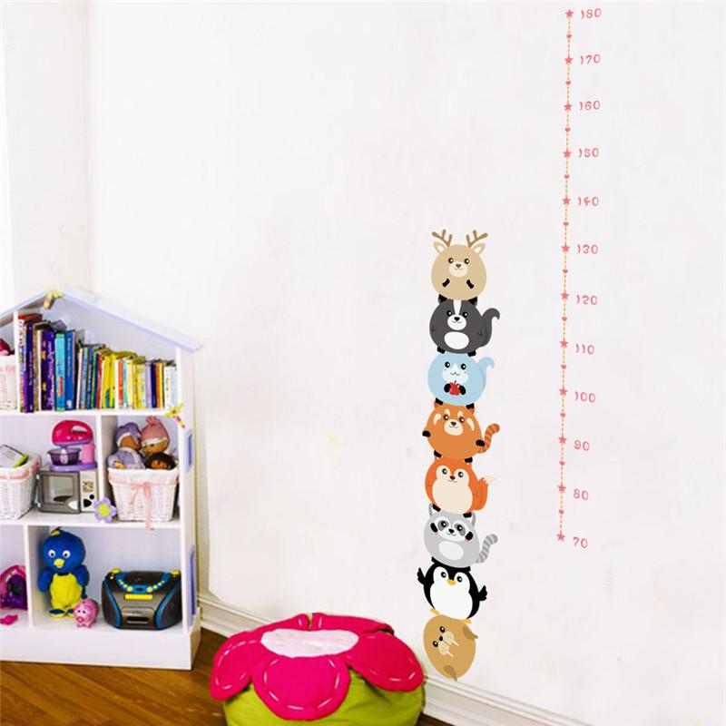 forest animals height measure wall stickers for kids bedroom nursery height ruler growth chart room decoration poster mural
