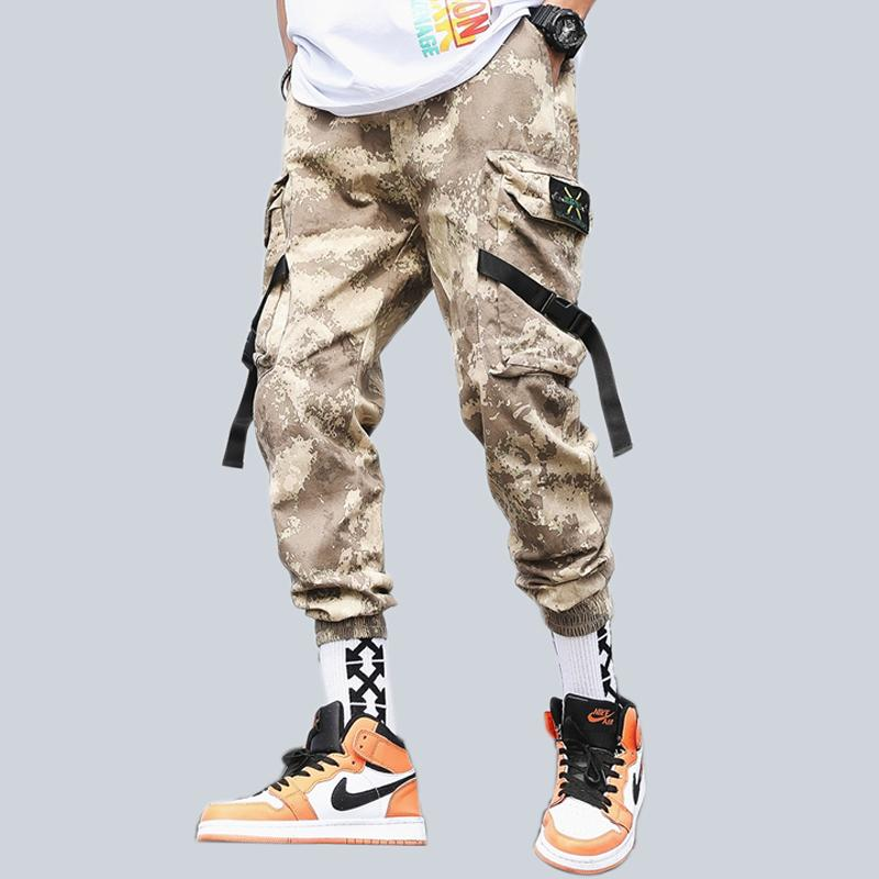Men Camo Cargo Pants Hip Hop Ribbons Mens Streetwear Casual Pockets Joggers Pants Male Fashion Sweatpants Homme Trousers