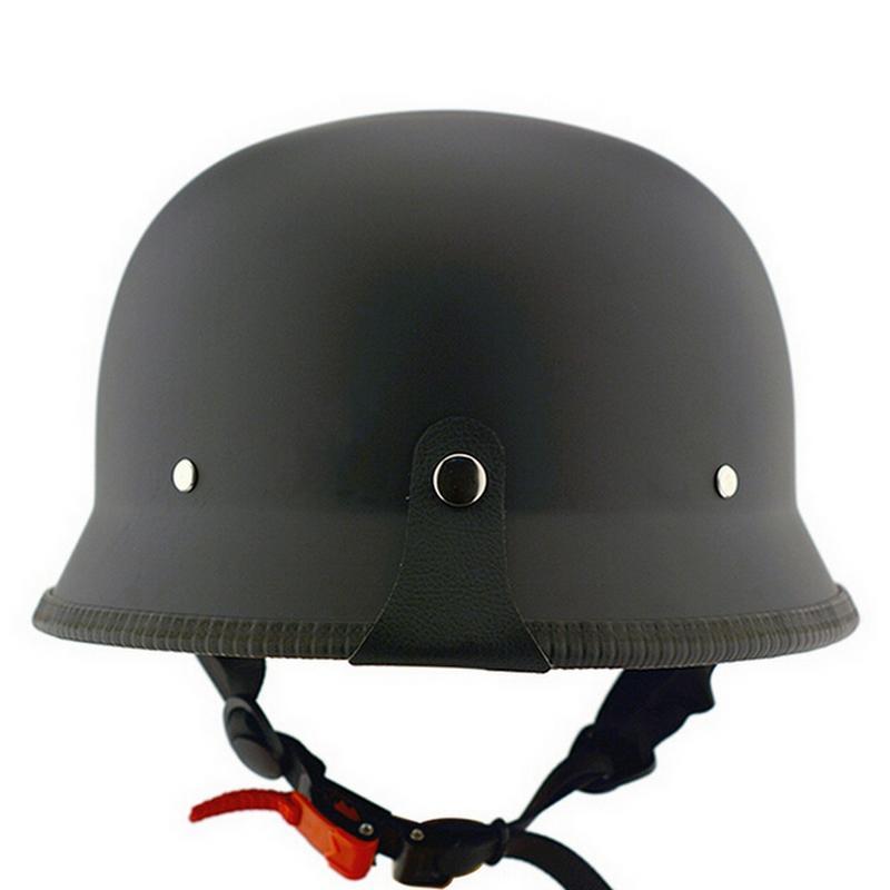 Unisex DOT RetroM / L / XL unisex Cascos Mate Negro retro German Style mitad de la cara del casco de protección para la cabeza del motorista Sombrero Motor