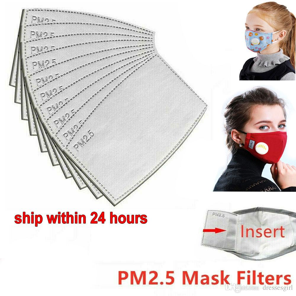 Nave DHL! 100 pcs crianças enfrentam máscara de boca Anti PM2. 5 Filtro de Placa de máscara de 5 camadas