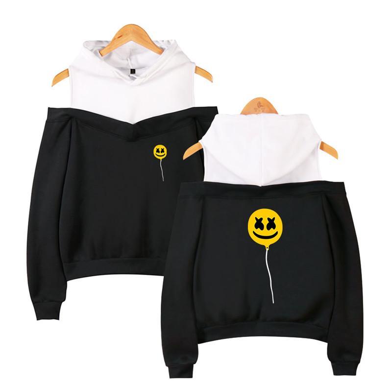 XS-2XL Marshmello балахон желтый шар печатных с длинным рукавом внутри флис случайные пуловеры толстовки из плеча толстовка известный DJ