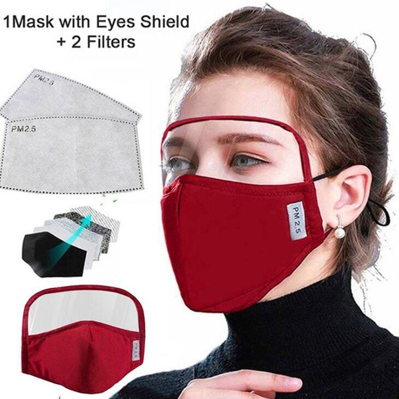 Adultes Masque Visage avec Eye Shield 2 couches lavables en coton avec 2 Facemask filtre de protection Valve de reniflard extérieur Sécurité bouche Masques couverture