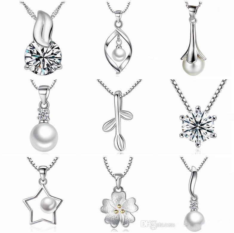 2019 45 stili 925 ciondolo in argento sterling collana senza catena di moda pendenti con ciondoli collane di perle di cristallo fiore pendenti gioielli