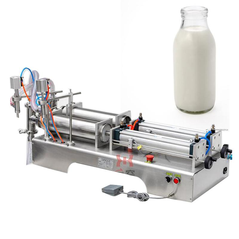Machine de remplissage de liquide à double tête de 110v2 20V pour la machine de remplissage de boissons pneumatiques de boisson de jus de soja Soja Sauce Vinaigre Huile d'olive
