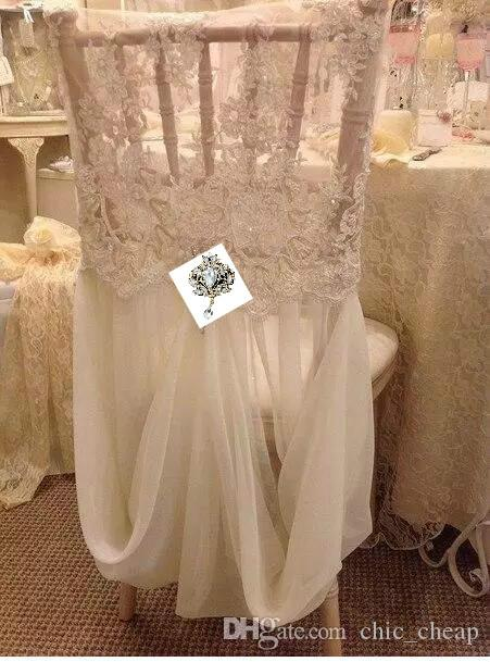 Link For Chair Cover Romantic Beautiful Cheap Chiffon Lace Real Picture Chair Sashes Colorful Wedding Supplies A03