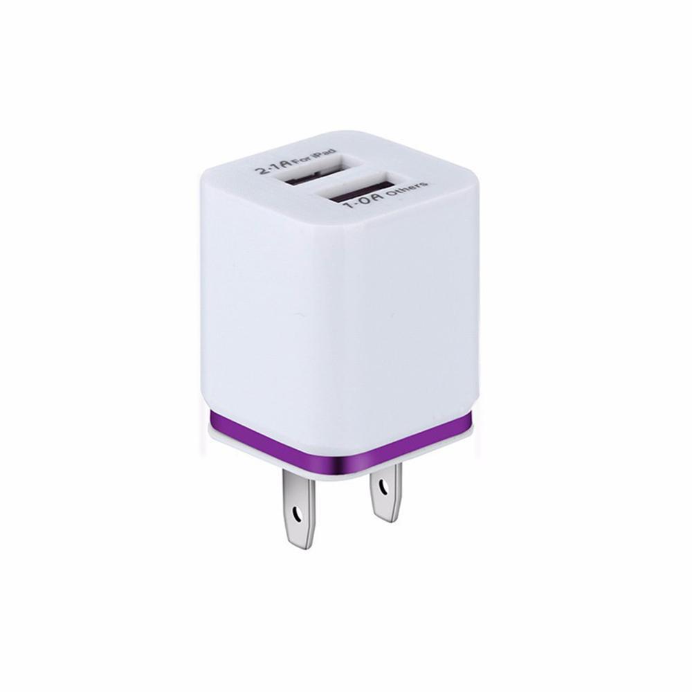 듀얼 USB 충전기 2A 빠른 아이폰 삼성 샤오 미를위한 여행 미국 플러그 어댑터 휴대용 벽 충전기 휴대 전화 충전 케이블