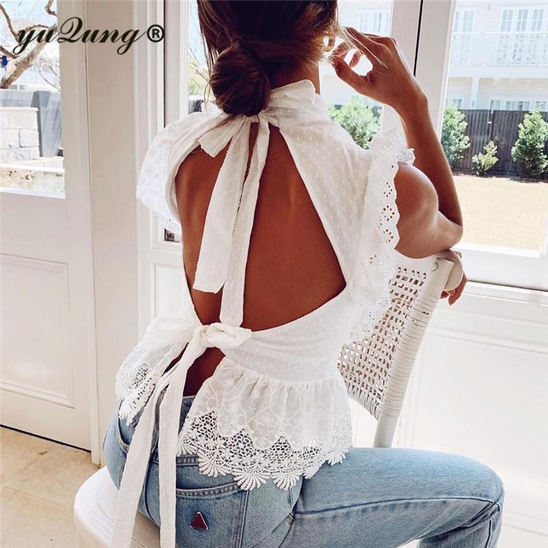 yuqung Elegant white lace blouse shirt ruffle hollow out embroidery blouse Women sleeveless backless summer lace up tops female