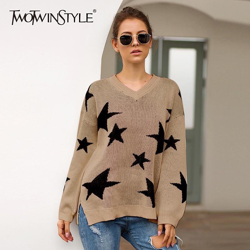 TWOTWINSTYLE Star Print Damen Pullover mit V-Ausschnitt Laternenärmel Side Split Pullover Herbst Pullover weiblich 2019 Mode Neu