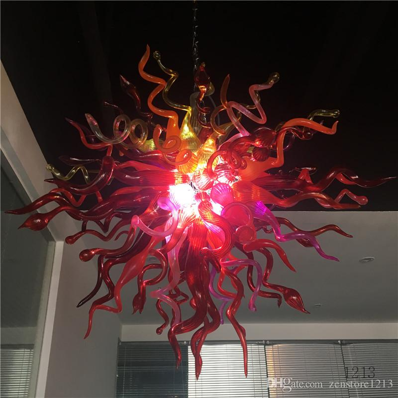 Italian Red Color 32inches Round Chandelier LED light Source Mouth Blown Murano Glass Chandelier Light Fixture Hanging Lamps