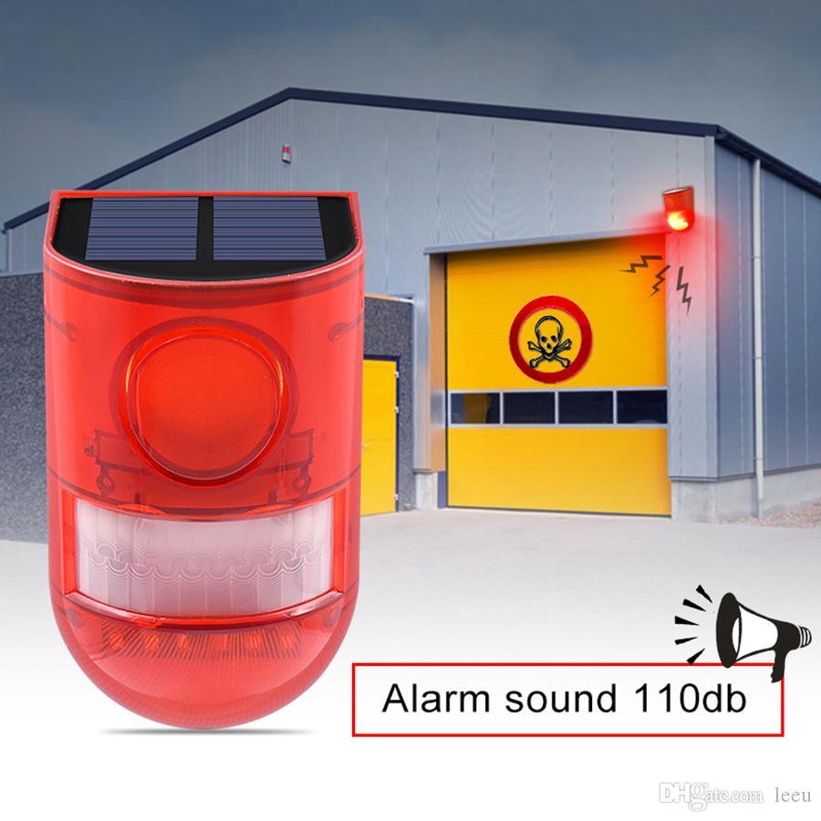 Solar-Alarm Lampe 110db Warnton 6led rotes Licht IP65 wasserdichte Bewegungs-Sensor-Warnlichter für Lager Secret Place Wand