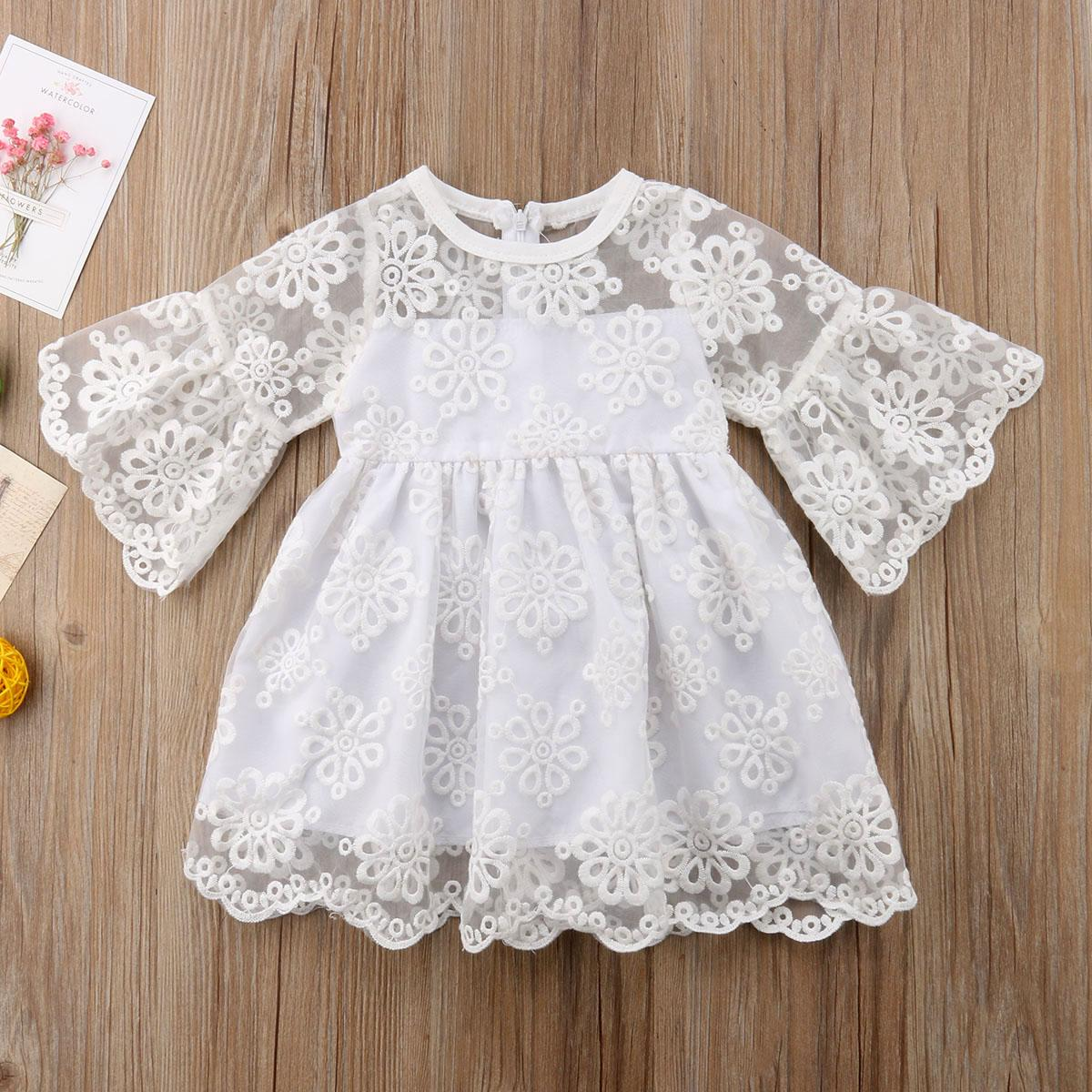 Casual Kids Baby Girls Dress Princess Lace Floral Party Bridesmaid Dress Clothes