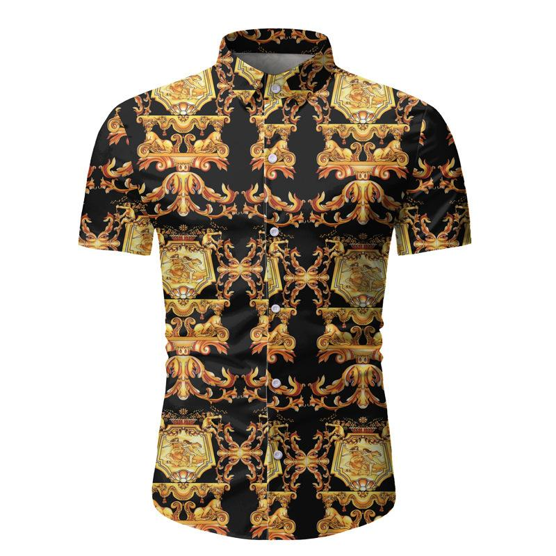 2020 New Spring and Summer Beach Print Short-sleeved Shirt Men M-3XL YT06