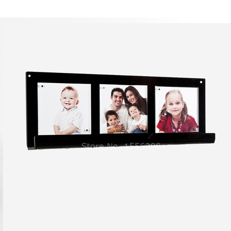 Fashion Modern Appearance Acrylic Wall Hanging Photo Frame Key Ring Storage Rack L Shelf Holder For 12x12cm Picture Display