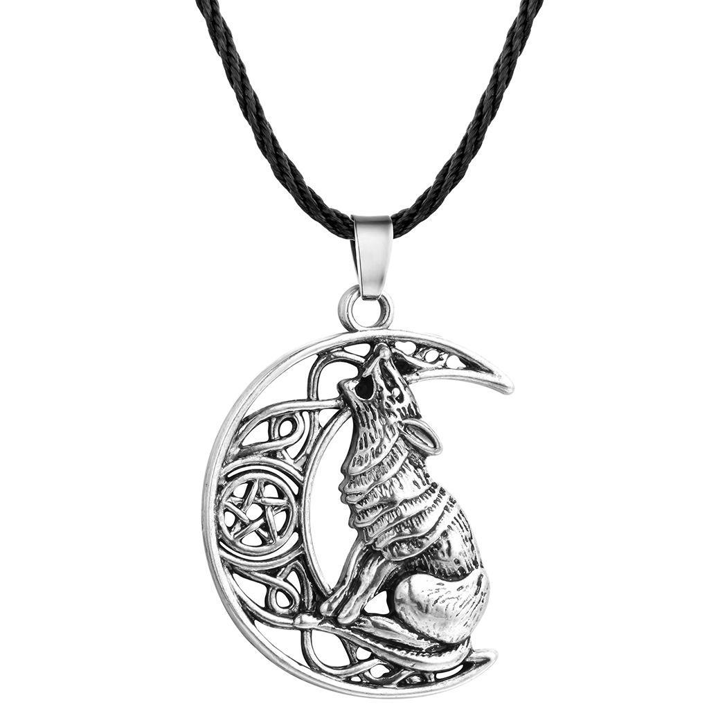 عتيقة القمر عواء الذئب قلادة فالكنوت أودين رمزا من نورس فايكنغ ووريورز قلادة للرجال