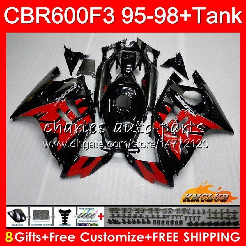 Body + Tank für HONDA CBR 600F3 600cc CBR600 F3 95 96 97 98 41HC.123 CBR 600 FS F3 CBR600FS CBR600F3 1995 1996 1997 1998 rot schwarz Fairing