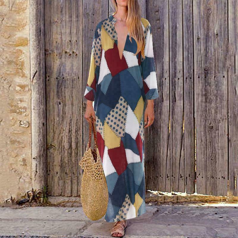 Übergroße Frauen Langarm-V Cut Neck Boho tägliche beiläufige Baumwolle Leinen Kaftan Maxikleid Moderne Lady Lange Kleider plus Größe 3XL