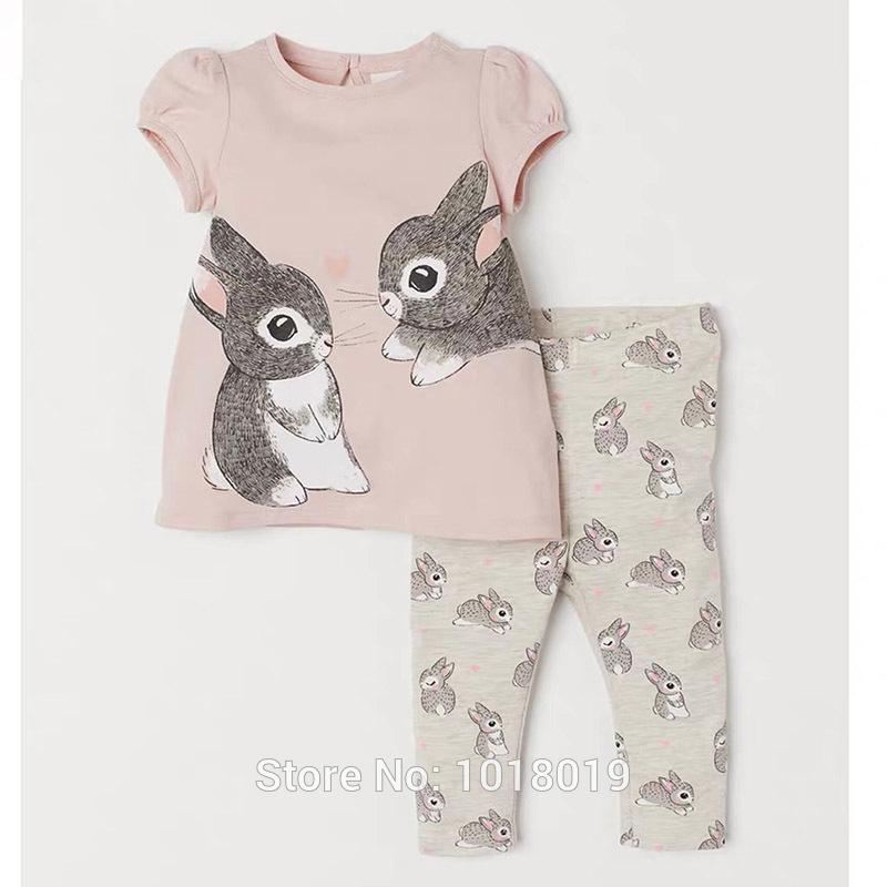 2-7Y Baby Girl Clothes Set Kids 100% Cotton Summer Bunny T-shirt Pants 2pc Children Suit Bebe Girls Tees Shorts Outfits New 2020 CY200516