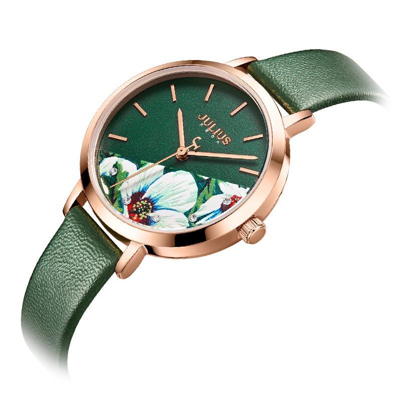 Julius Watch Green Fresh Girl Fashion Watch Flower Design Delicate Gift Watch Clock For GF With Gift Box Packaging JA-1089