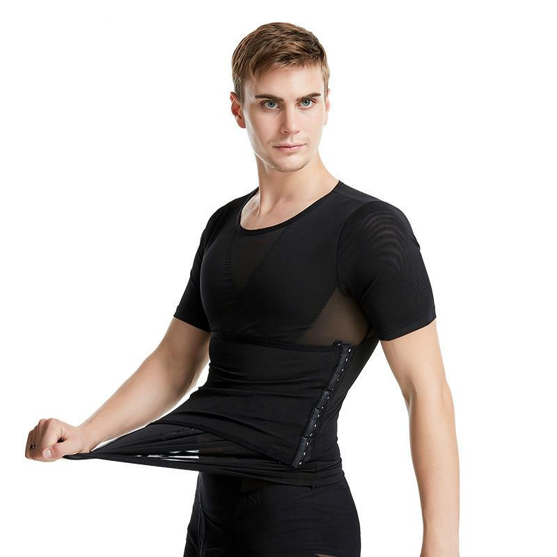 Hommes taille amincissant T-shirt Shaper Body Body Building Boucle Tops