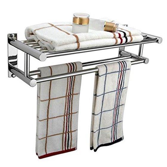 Look moderne serviette double en acier inoxydable Porte-rack mural serviettes de bain étagère rack Porte-rail 59x22x12cm