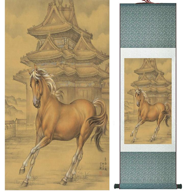Chinese Traditional Art Painting Art Painting Horse Horse Scroll Of 2004.