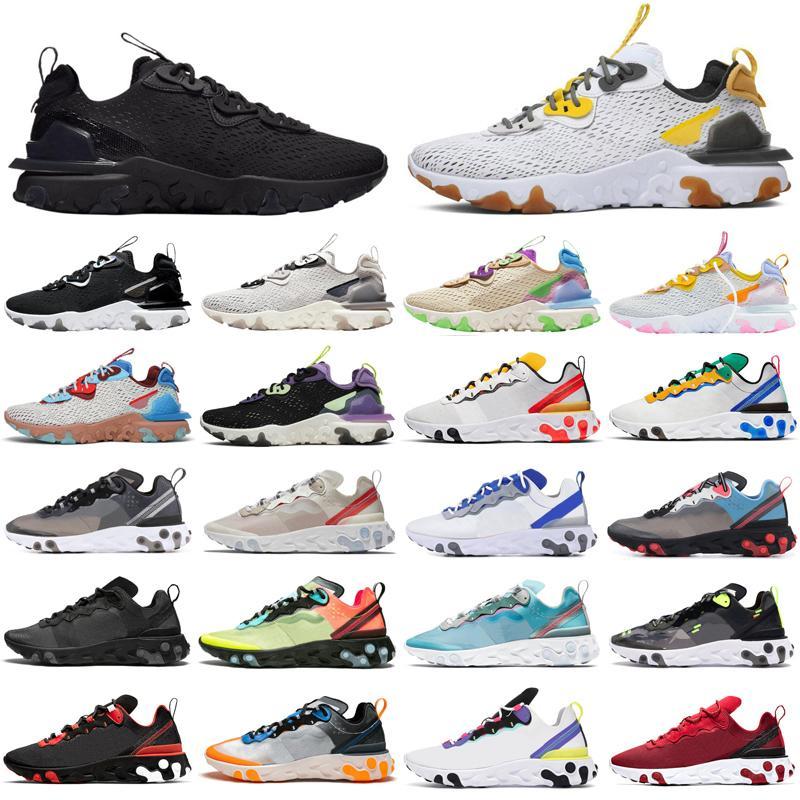 Nike React Element 55 87 2020  hommes femmes Chaussures de running triple noir blanc Tour Yellow Sail gym Rouge Baskets Baskets de sport