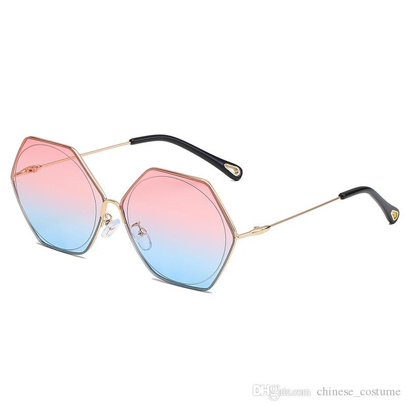 Brand Designer Women's Frameless Sunglasses Men And Women Sunglasses Fashion Polarized Glossy Glasses Frameless Sunglasses 2019 High Quality