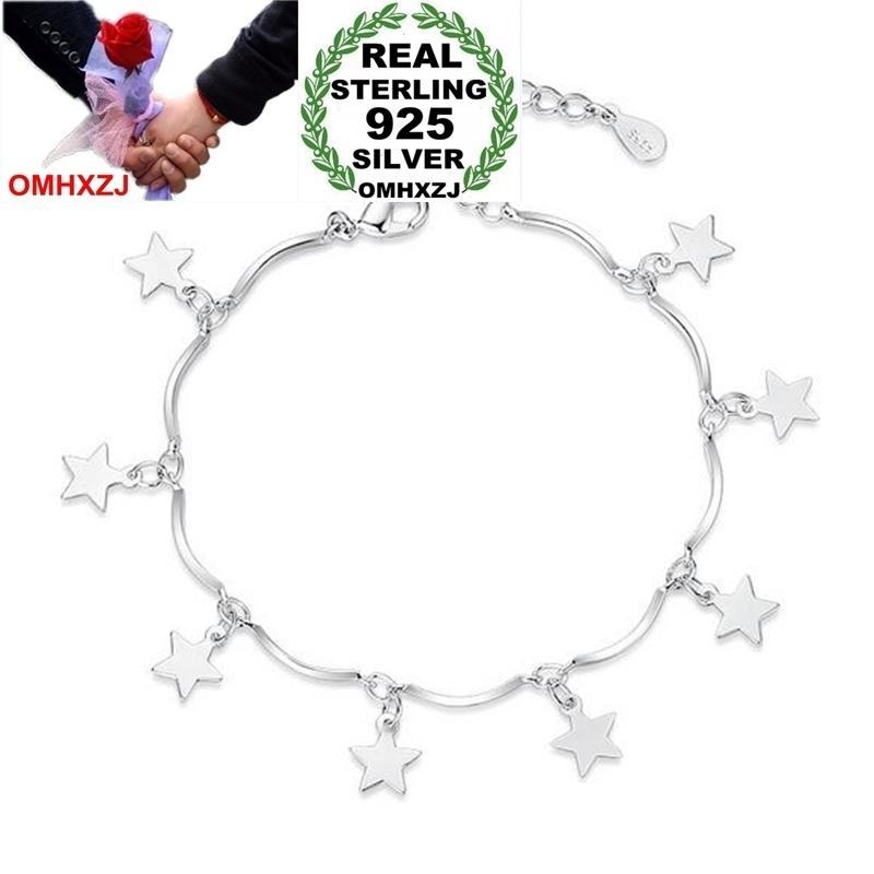 OMHXZJ Großhandel Temperament Süße Mode Stern Frau Mädchen Party Geschenk Pentagramm Design 925 Sterling Silber Armband Armreif SZ123