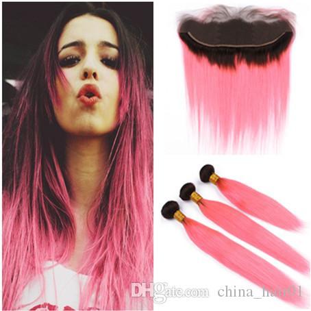 # 1B / Pink Dark Root Ombre бразильского человеческих волос 3 Связка с фронтальным Straight Ombre Розового Виргинским ткет волос с кружевом Фронтальной Закрытие 13x4