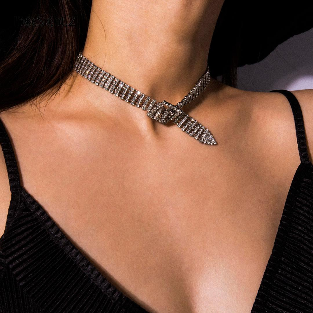IngeSight.Z brillant strass Collier ras du cou Colliers pour femmes Déclaration réglable en cristal court Clavicule Bijoux chaîne