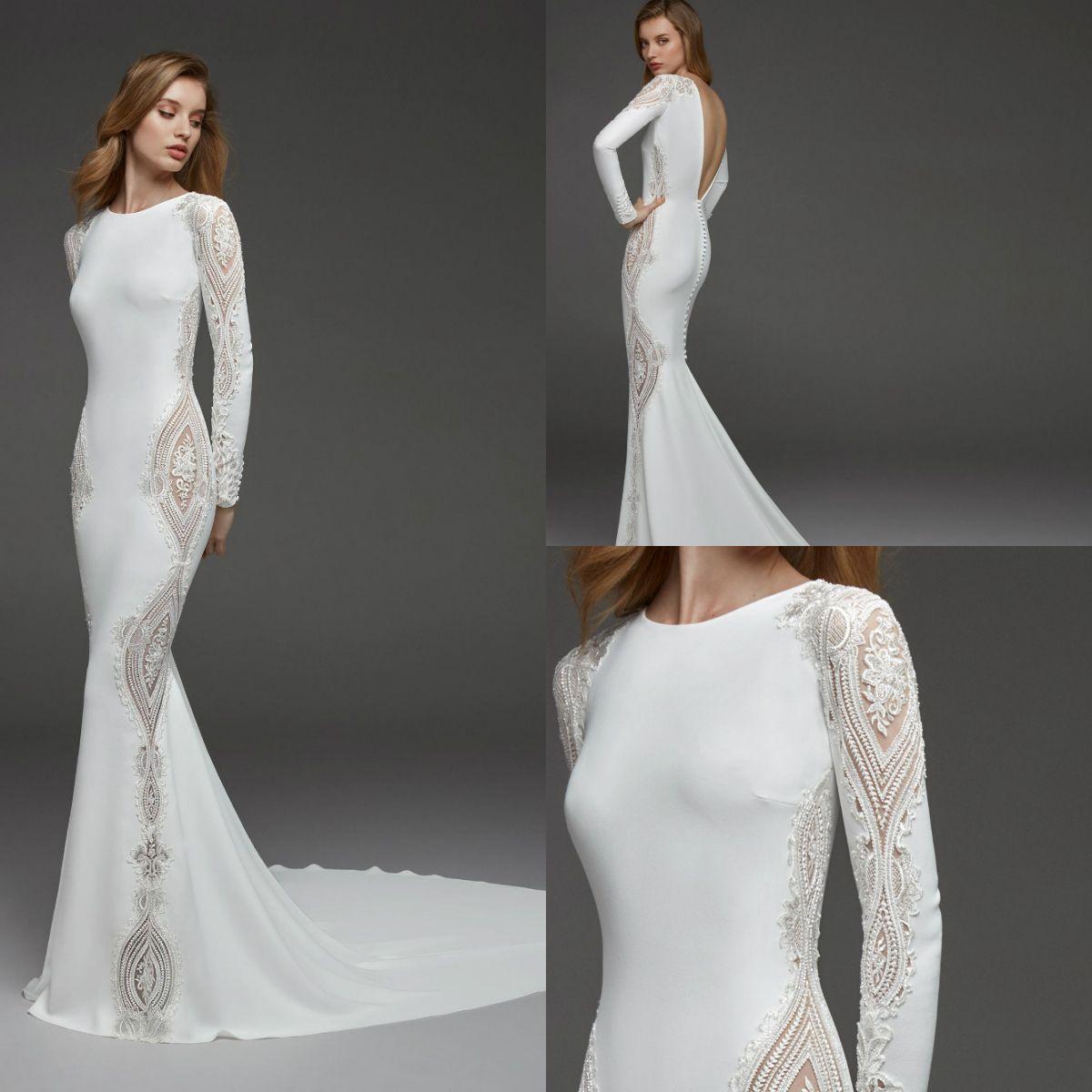 Modest Mermaid Long Sleeve Wedding Dresses Lace Appliqued Jewel Neck Custom Made Beads Bridal Wedding Gowns Vestido de Noiva