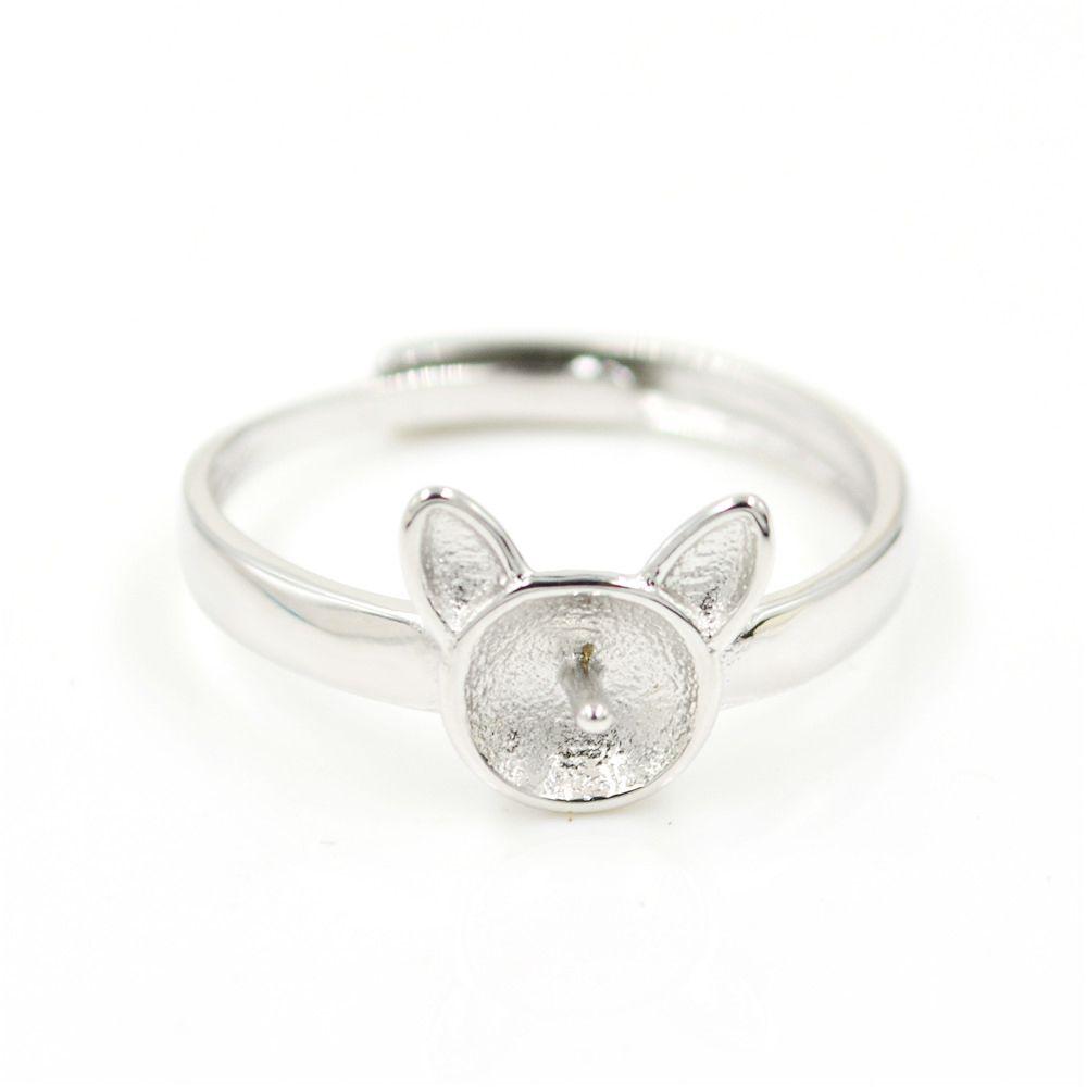 Оптовая продажа S925 стерлингового серебра кольцо крепления кролик кошка кольцо дизайн для женщин жемчужные украшения diy бесплатная доставка регулируемое открытие