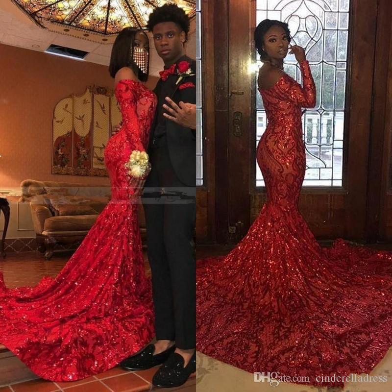 2020 Red africanos completa Lantejoula Vestidos de baile fora do ombro Sereia com manga comprida Plus Size Evening vestidos para Pageant Reflective Vestido
