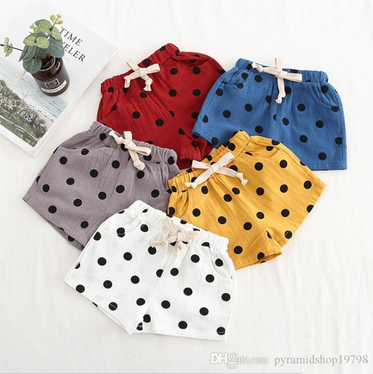Baby Boys Girls Dot Shorts INS Summer Triangular Bread Pants PP Pants Kids Dot Cotton and Linen Bloomers Toddle Summer Pañal Calzoncillos