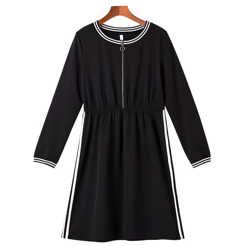 Plus Size Black Striped Zipper Long Sleeve Tunic Dress Women Elegant Casual  Sweet Office Party Fashion Beach Dress Lady Clothing Long Dresses Sale Dr  ...