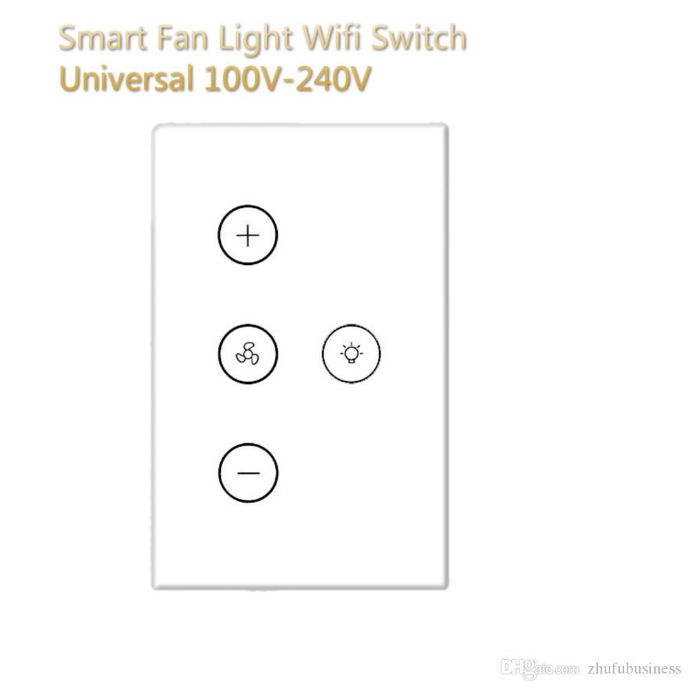 Wifi Smart Wall Switch US Rules Alexa Google Home IFTTT APP Voice Remote Control Intelligent Fan Light Tempered Glass Touch Panel Switch