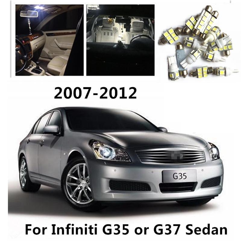 LOAUT 10pcs Beyaz Otomobil için LED Ampuller İç Paketi Kiti İçin Infiniti G35 veya G37 Sedan 2007-2012 Harita ışıklar