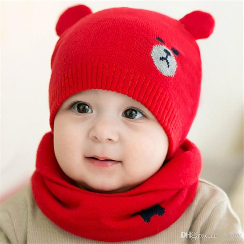 Unisex Children Bear Crochet Knitted Caps And Scarf Winter Warm Earflap Suit Set Baby Toddler Warm Kids Cute Pattern Beanies Hat Set