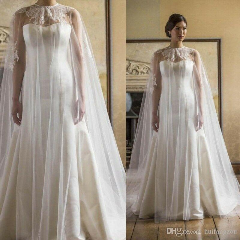 2019 Jewel Neck Bridal Jackets Custom Made Lace Appliques Tulle Wedding Cape Shawls Bride Wraps for Formal Dresses Cheap