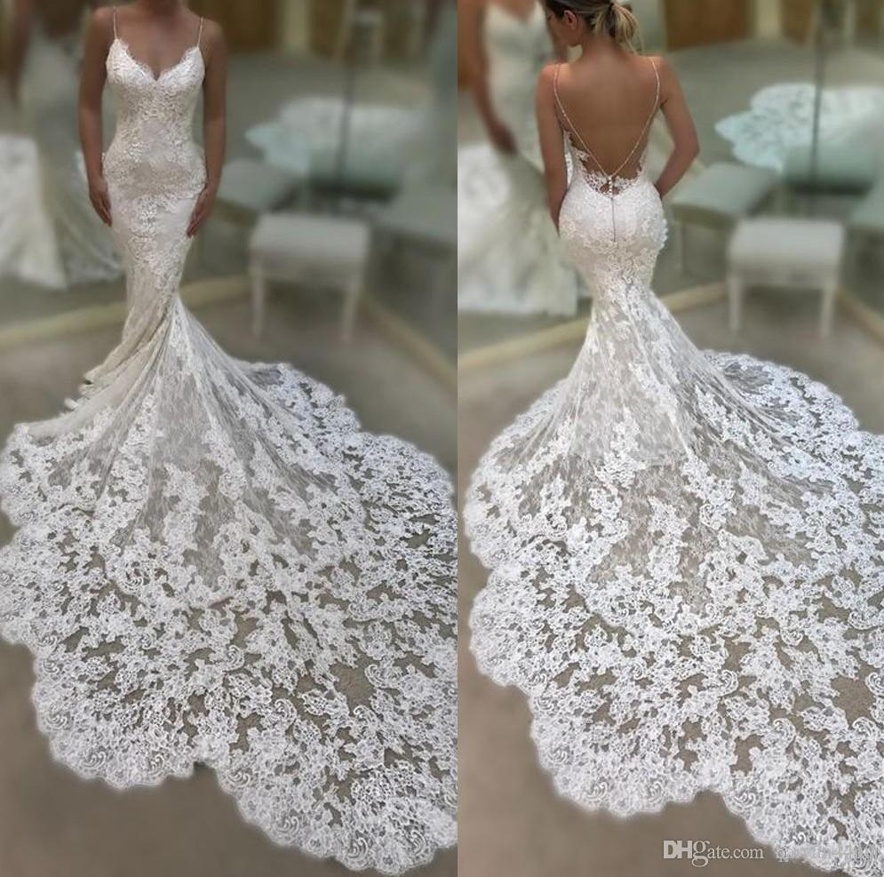 2020 New Sexy Spaghetti Straps Boho Mermaid Wedding Dresses Lace Applique Sleeveless Illusion Backless African Plus Size Formal Bridal Gowns