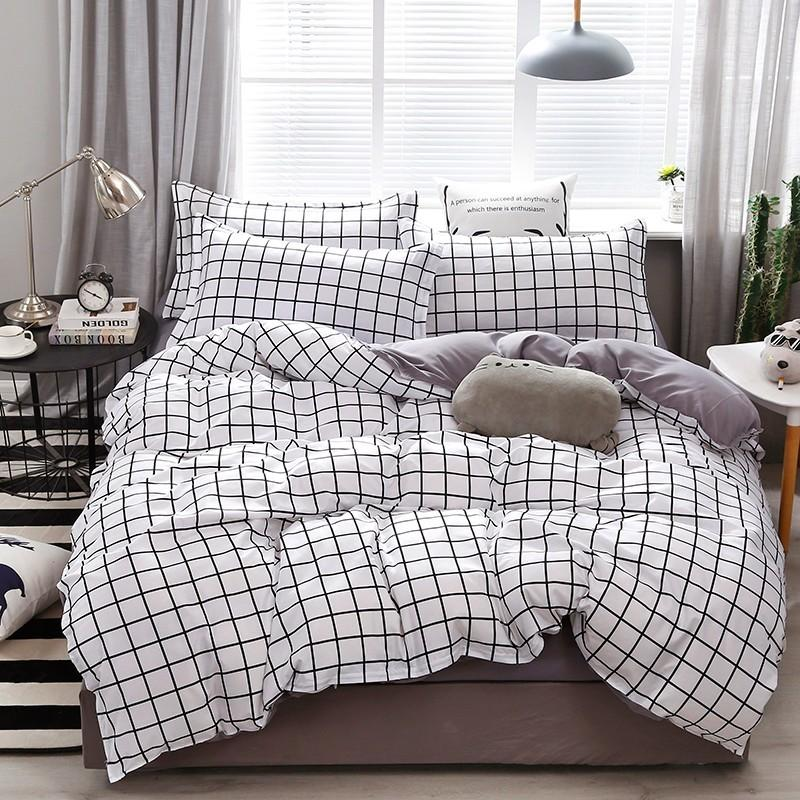 Branco Grey Plaid Contratado Estilo cama Set moda capa do edredon Folha de cama fronha