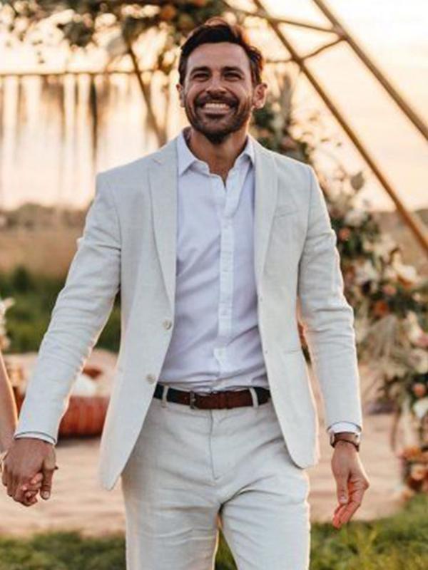 ANNIEBRITNEY Ivory 2 Stück Männer Slim Fit Business-Leinen Sommer-Klage 2020 Sommer-Bräutigam-Hochzeit Smoking Tailor Made Casual Men Anzug